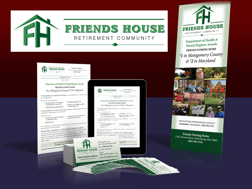 Friends House: Branding, collateral, & display graphics